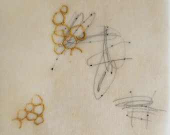 Daily Drawing April 1, 2018 / Points in Space with Gold Ink / Mixed Media Drawing with Beeswax
