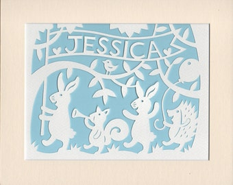 Personalised Woodland Nursery Art, Woodland Animal Parade Handmade Papercut