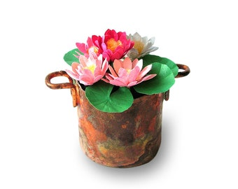 Waterlilies in an aged copper pot for the collector's dolls' house in 12the scale