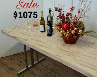 Dining Table SALE 82 x 28 Dramatic Natural Ambrosia Maple Solid Wood Console Conference Table Vintage Chrome Legs