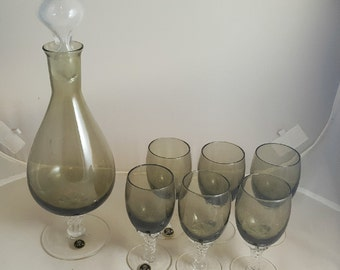 S VE M Italy Crystal Decanter Set  6 Goblets w/ Original Labels Smoke
