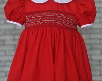 Red smocked dress for toddler, smocked dress for little girl, hand smocking dress with Peter Pan collar, imperial batiste