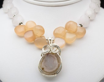Mex Agate, Moonstone, Rose Quartz Sterling Silver Wire Wrapped Pendant Necklace
