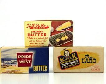 3 Vintage Unused Boxes - Butter and Lard