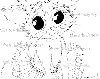 INSTANT DOWNLOAD Digital Digi Stamps Big Eye Big Head Dolls NEW Pretty Little Kitty My Besties img439 By Sherri Baldy
