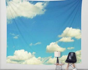 Cloudy Sky Wall Tapestry, Aqua Blue Large Size Wall Art, Modern Decor, Nature, Wedding Gift, Outdoor, Garden, Whimsical, Office, Dorm Art