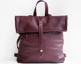 Leather Backpack in Burgundy / Leather Backpack / Leather Bag / Burgundy Leather Bag / Big Backpack / Burgundy Backpack / Unisex backpack