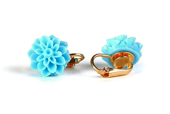 Sale Clearance 20% OFF - Sky blue flower and gold plated clip on earrings READY to ship (279)