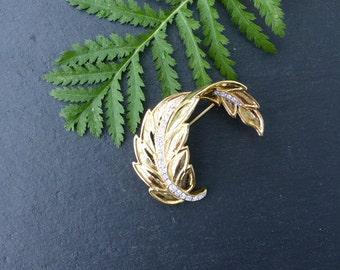 Vintage 1980s - Goldtone Curled Leaf Brooch, Studded With Crystal Diamanté