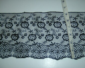 """6.5"""" wide BLACK embroidered lace trim 3yds (474)"""