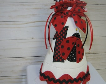 Red ladybug party hat , first birthday hat,  smash cake hat, birthday hat,  2nd birthday, red lady bug birthday, ladybug birthday