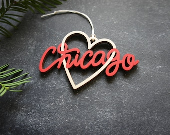 Chicago Heart Christmas Ornament - Choose your color! | Christmas Ornament | Housewarming Gift | Christmas Gift | Chicago Heart