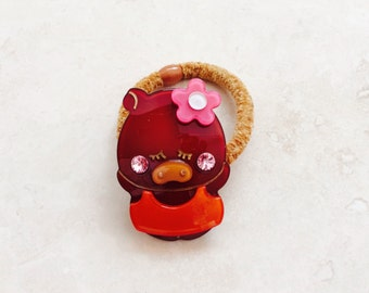 Pig with Flower Pin Ponytail Holder Hair Tie Elastic Band Adorable