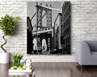 New York photography, large Canvas art, NYC decor black and white photography, New York bedroom decor, Manhattan bridge Empire