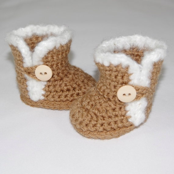 Furry Button Boots Crochet Pattern