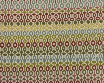 Aurelian - Blossom - Red - Blue - Green Upholstery Fabric by The Yard