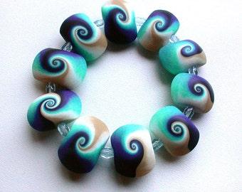 Polymer Bracelet Blue Swirls