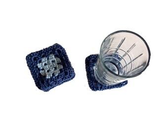 Granny Square Coasters, blue crochet coaster set, square mug rug