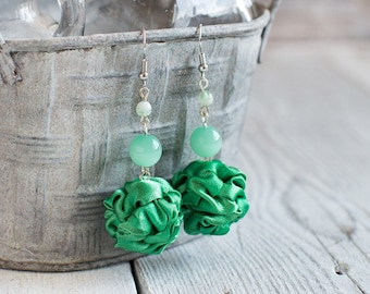 Green fabric bead Earrings, ruffled textile earrings, fabric jewelry, textile jewelry, dangle earrings, Unique Gift for Her
