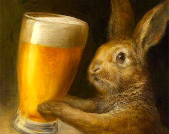 Bunny with Beer (print) bar decor rabbit brewery illustration artwork