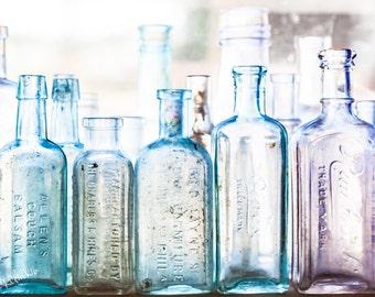A Bottle Sea Fine Art Photography Vintage glass bottles Antiques Aqua Blue Green Turquoise Large wall Art lavender glass femine rustic home