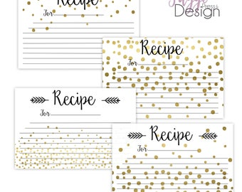 Recipe Cards, Printable-Set of 4, Elegant style