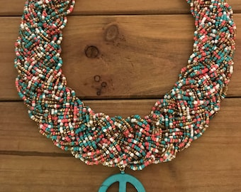 Beaded Peace Sign Necklace