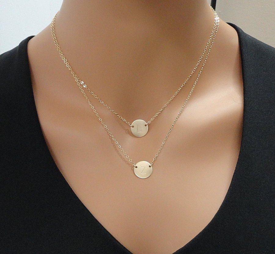 Layered initial necklace 14k gold filled double strand zoom aloadofball Choice Image