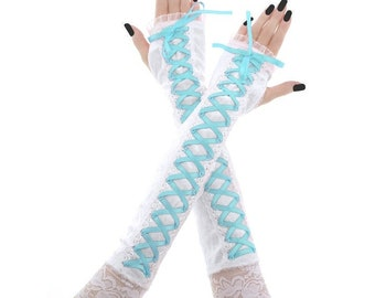bridal gloves bridesmaid gloves long mittens turquoise gloves fingerless mittens gloves arm warmers bride wedding turquoise white 4400