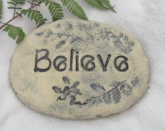 "Believe in fairies sign. Sculpted outdoor Fairy garden decoration. Outdoor Faerie garden marker, small garden accent. 6"" size, fairy herbs"
