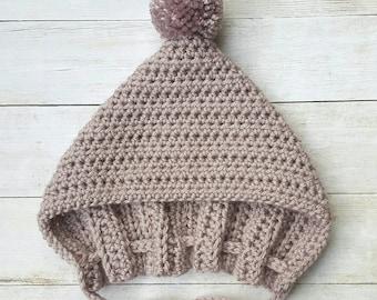 Pixie Bonnet - Crochet Pixie Bonnet - With Pom Pom - Crochet Hat - Boy or Girl - Crochet Pixie Hat - Baby Bonnet - Baby Hat - Pixie Hat