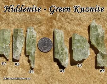 Hiddenite Green Kunzite natural raw rough stone for crystal healing