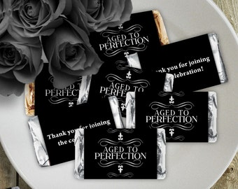 Aged to Perfection Black - Birthday Party Instant Download - EDITABLE PDF, DIY Hershey Mini Candy Bar Wrappers, Printable Labels