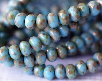 3x5mm Sky Blue Picasso Donuts - Opaque Blue Rondelle - Fire Polished Rondelle - Bead Soup Beads