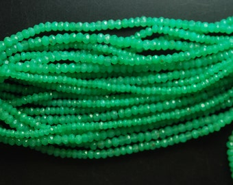 13.5'' Super Finest, Hard to Find Quality,  Natural Chrysoprase Faceted Rondelles, Size 4mm
