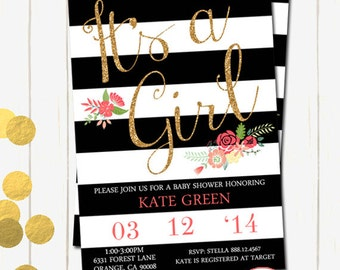 Baby Girl Shower Invitation, Black Stripes and Gold Glitter Baby Shower Invitation , Baby Shower Girl Invitation, Black and gold, Digital