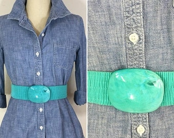 30% Off Sale 80s Turquoise Wide Stretch Belt with Plastic Tortoise Oval Buckle, Size Large to XL