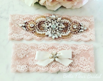 Rose Gold Wedding Garter - Blush Lace Garter - Pearl Garter - Pink Bridal Garter - Wedding Garter Belt - Keepsake Garter