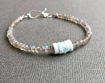 Peruvian Blue Opal Labradorite Skinny Bracelet, Pale Blue and Gray Stacking, Dainty Delicate Layering Gemstone Bracelet, Sterling Silver,