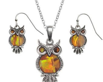 New Inlaid orange paua shell owl pendant & earrings set
