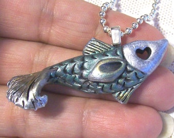 Glitz Guppy Fish Silvertone Pendant Hand Sculpted and Painted One-Of-A-Kind Original Jewelry Wearable Art