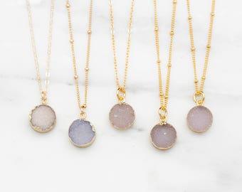 Tiny Druzy Necklace / Natural Druzy Pendant Necklace / Druzy Gemstone Necklace / Raw Gemstone Necklace / Boho Necklace, Bridesmaids Gift
