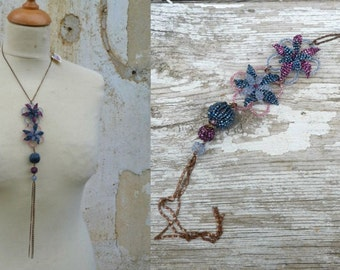 BLEUETTE  French handmade 1920s inspired Flowers beaded long necklace sautoir