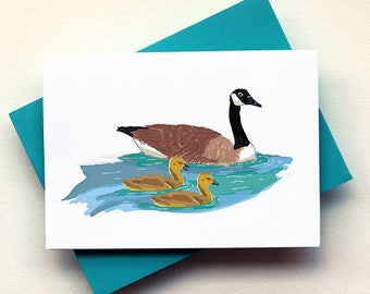 Canadian Goose and Goslings Card