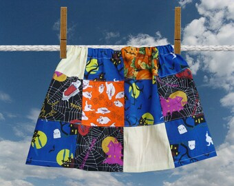 Girls Halloween Skirt, Patchwork Skirt, Handmade Skirt, Multi Colors, Ghosts Witch,Pumpkins,Elastic Waist,Unique Clothing,Childrens Clothing