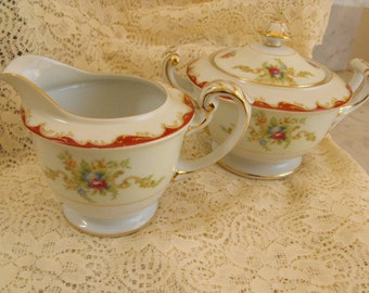 Aladdin Sugar And Creamer, Occupied Japan, Floral Roses and Swags