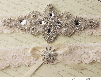 Wedding Garter Set in Ivory, Ivory Lace Bridal Garter, Lace Wedding Garters, Lace Bridal Garter Set, Bridal Garter Belt, Bridal Shower Gift
