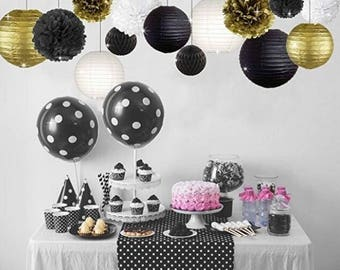 14 Pcs Gold Black White Party Decor Kit Tissue Paper Pom Poms Flower Paper Lantern Honeycomb Balls Birthday Decor Black Gold Themed Decor