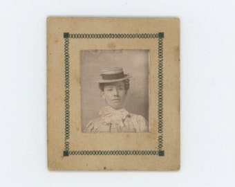 Vintage Mounted Arcade or Studio Mini-Portrait, Early 1900s: Young Woman (610512)