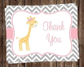 Giraffe, Thank You Cards, Baby shower, Birthday, Chevron Stripes, Pink, Girls, Gray, Gentle, Grey, Sprinkle, 20 Cards, FREE Shipping, CHGPK